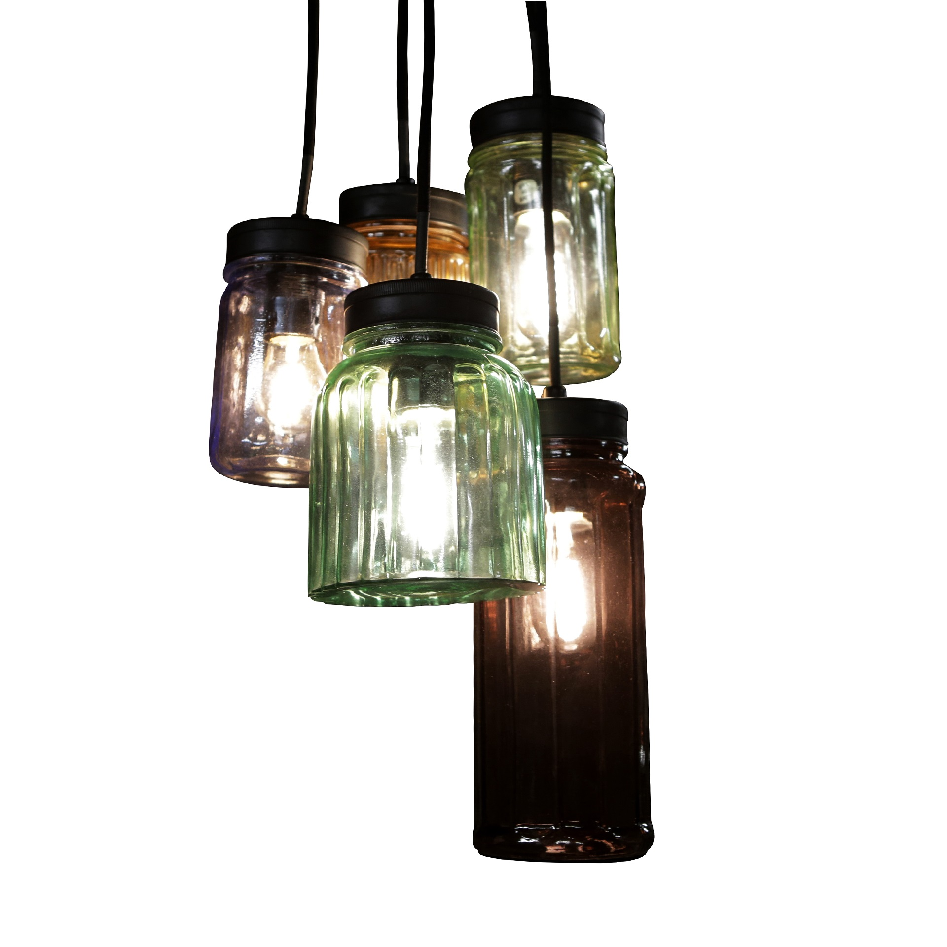 gekleurde glazen hanglampen