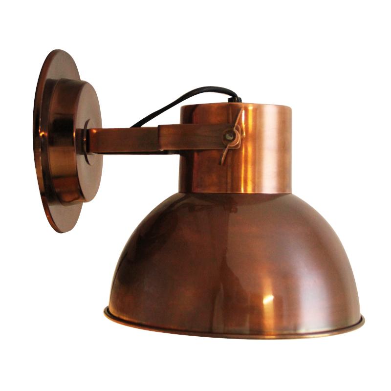 Stoere wandlamp koperkleur