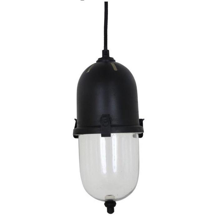 Zwarte aanrechtlamp in een uniek design.